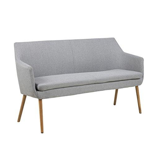 lounge-zone Sofabank Design Bank GENT Stoffbezug grau hellgrau Holzgestell 13979