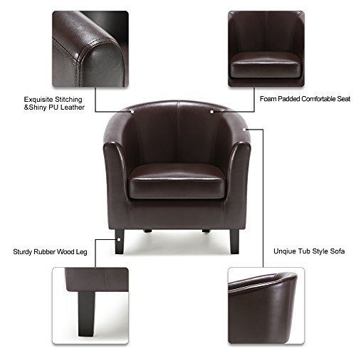ikayaa clubsessel loungesessel chesterfield aus pu leder. Black Bedroom Furniture Sets. Home Design Ideas