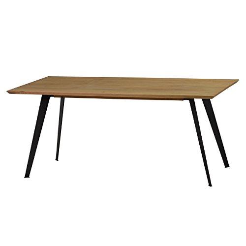 Esstisch Tisch Esszimmertisch Lalon 200x100 cm, Modernes Industrie-Design, Massivholz Holz Eiche massiv, Gestell Metall