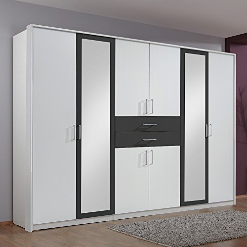 kleiderschrank diver alpinwei anthrazit mit spiegel 2 schubladen skandinavische m bel. Black Bedroom Furniture Sets. Home Design Ideas