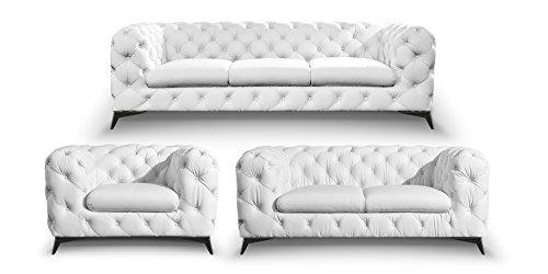 sofagarnitur 3 2 1 leder wei chesterfield volleder kn pfung chromf e skandinavische m bel. Black Bedroom Furniture Sets. Home Design Ideas