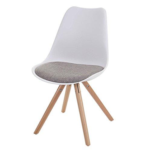 6x esszimmerstuhl malm t501 retro design wei sitzfl che textil grau helle beine. Black Bedroom Furniture Sets. Home Design Ideas