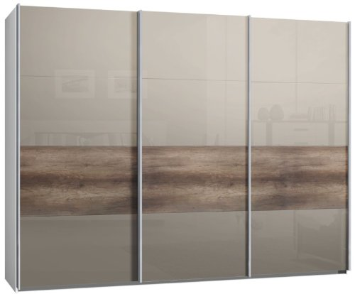 schwebet renschrank schiebet renschrank 3trg ca 300 cm glas sahara grau mit wildeiche. Black Bedroom Furniture Sets. Home Design Ideas