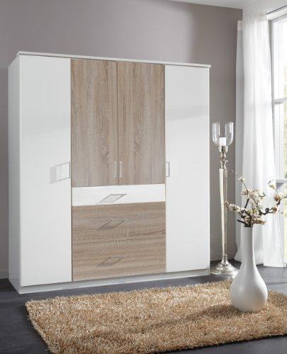 wimex 152626 kleiderschrank 180 x 199 x 58 cm 4 t rig mit zwei breiten und einen schmalen. Black Bedroom Furniture Sets. Home Design Ideas
