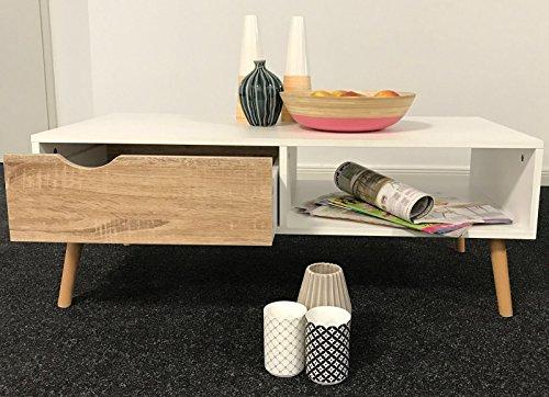 1plus moderner design couchtisch mit zeitungsablage und schublade matt wei buche dekor 100 x. Black Bedroom Furniture Sets. Home Design Ideas
