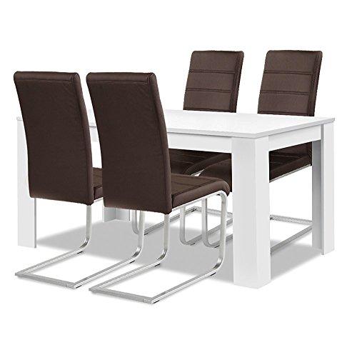 agionda esstisch stuhlset 1 x esstisch toledo weiss 140 x 90 4 freischwinger braun. Black Bedroom Furniture Sets. Home Design Ideas