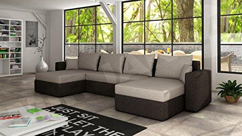 Ecksofa sofa couchgarnitur couch rumba wohnlandschaft mit for Wohnlandschaft u form mit schlaffunktion