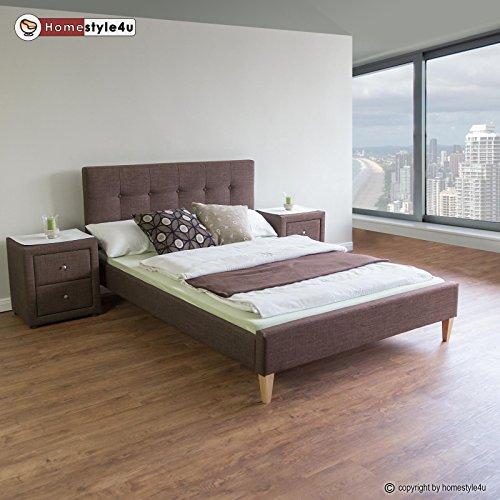 homestyle4u polsterbett doppelbett stoffbett bettgestell 140 x 200 lattenrost bett braun. Black Bedroom Furniture Sets. Home Design Ideas