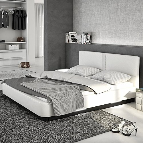innocent polsterbett aus kunstleder wei 180x200cm mit led und lautsprecher zarina mit matratze. Black Bedroom Furniture Sets. Home Design Ideas