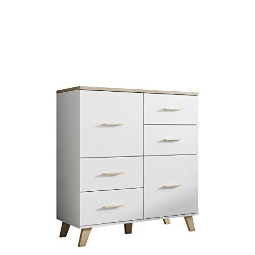 kommode lotta 110 2d4s im skandinavischen stil mit 4 schubladen anrichte mehrzweckschrank. Black Bedroom Furniture Sets. Home Design Ideas