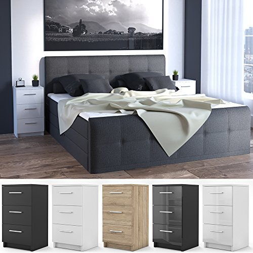 nachtkommode fr boxspringbett 2 er set 66cm hoch nachtschrank nachttisch kommode schrank bequem. Black Bedroom Furniture Sets. Home Design Ideas