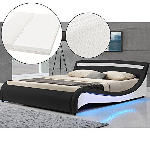 polsterbett malaga 180 x 200 cm led seitenteilen schwarz mit kaltschaummatratze. Black Bedroom Furniture Sets. Home Design Ideas