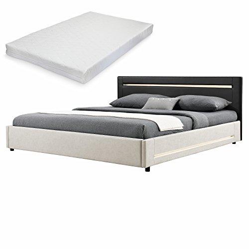 elegantes led polsterbett mit kaltschaum matratze. Black Bedroom Furniture Sets. Home Design Ideas