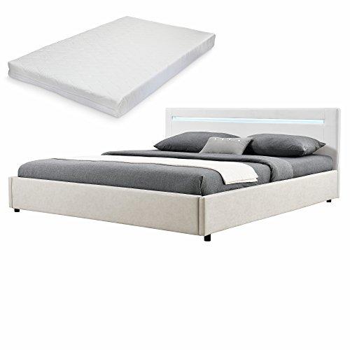 mybed elegantes led polsterbett mit kaltschaum matratze h2 140x200cm kopfteil kunstleder wei fu. Black Bedroom Furniture Sets. Home Design Ideas