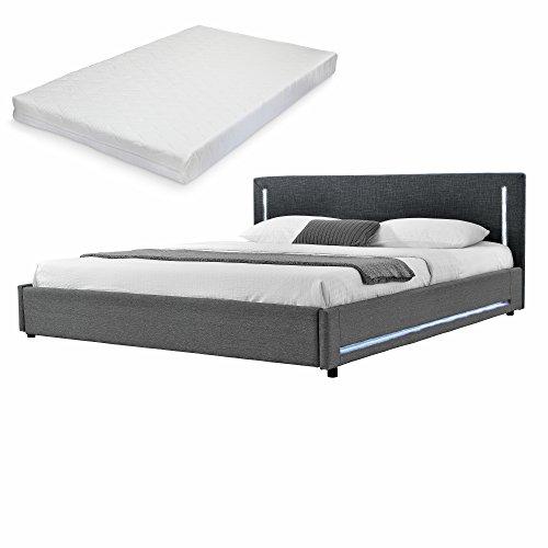 mybed elegantes led polsterbett mit kaltschaum matratze h2 180x200cm kopfteil textil schwarz fu. Black Bedroom Furniture Sets. Home Design Ideas