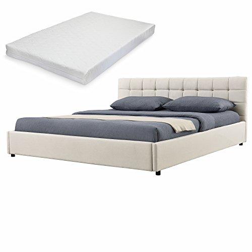 elegantes polsterbett gesteppt mit kaltschaum matratze h2 140x200cm kopfteil. Black Bedroom Furniture Sets. Home Design Ideas