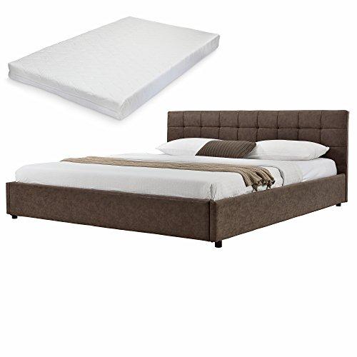 mybed elegantes polsterbett gesteppt mit kaltschaum matratze h2 140x200cm wild leder imitat. Black Bedroom Furniture Sets. Home Design Ideas