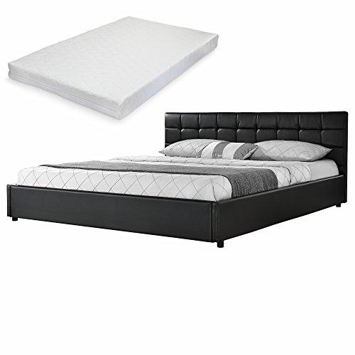 mybed elegantes polsterbett gesteppt mit kaltschaum matratze h2 180x200cm kunst leder schwarz. Black Bedroom Furniture Sets. Home Design Ideas