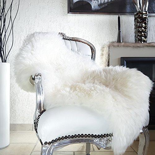 HEIDE Lammfell Schaffell öko gegerbt premium Fell Teppich in weiß 90 x 50 cm