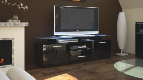 tv board lowboard almada korpus in schwarz matt front in schwarz hochglanz skandinavische m bel. Black Bedroom Furniture Sets. Home Design Ideas