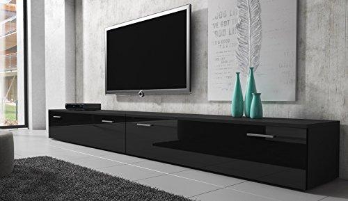 tv m bel lowboard schrank st nder boston korpus schwarz front schwarz hochglanz 300 cm. Black Bedroom Furniture Sets. Home Design Ideas