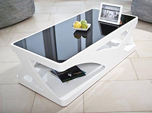 salesfever couchtisch in hochglanz wei mit schwarzer glasplatte ventura skandinavische m bel. Black Bedroom Furniture Sets. Home Design Ideas