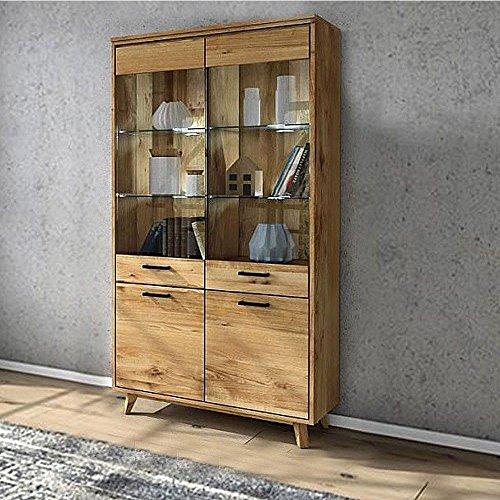 vitrine molle 200 wildeiche massiv ge lt skandinavische. Black Bedroom Furniture Sets. Home Design Ideas