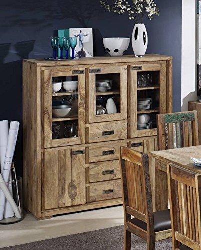sheesham holz massiv m bel ge lt highboard massivm bel holz massiv braun nature brown 859. Black Bedroom Furniture Sets. Home Design Ideas