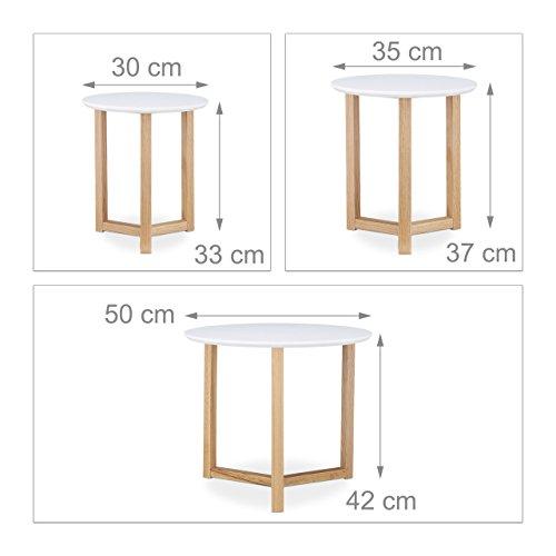 relaxdays beistelltisch 3er set ge ltes eichen holz wei e tischplatte 50 35 und 30 cm. Black Bedroom Furniture Sets. Home Design Ideas