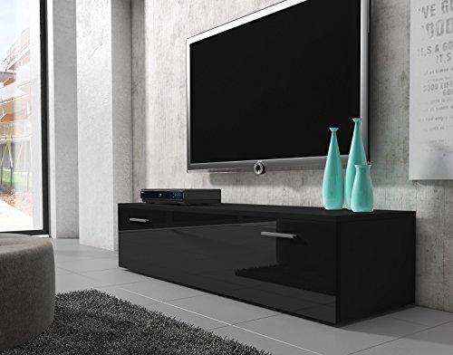 tv m bel lowboard schrank st nder boston korpus schwarz front schwarz hochglanz 150 cm. Black Bedroom Furniture Sets. Home Design Ideas