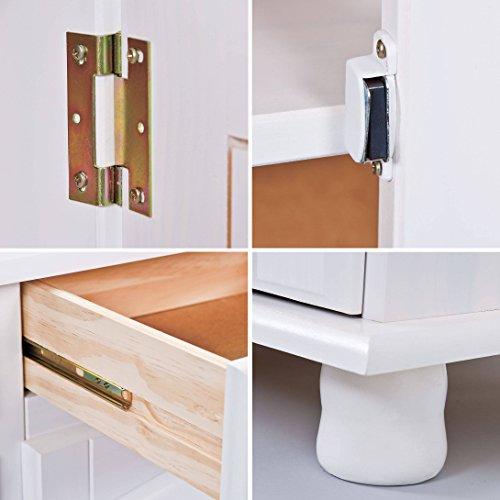 gro e vitrine mit 2 t ren 2 schubladen 2 glast ren kiefer massiv wei skandinavische m bel. Black Bedroom Furniture Sets. Home Design Ideas