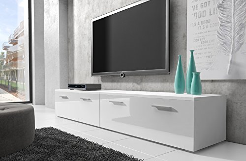 tv m bel lowboard schrank st nder boston korpus wei front. Black Bedroom Furniture Sets. Home Design Ideas