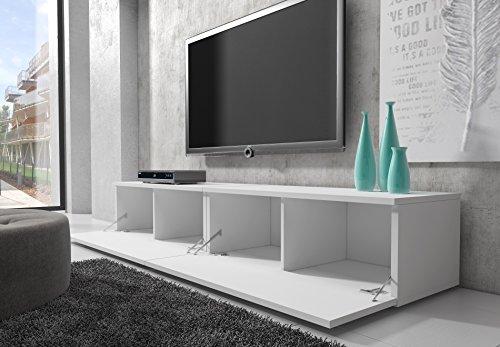 tv m bel lowboard schrank st nder boston korpus wei front wei hochglanz 200 cm. Black Bedroom Furniture Sets. Home Design Ideas