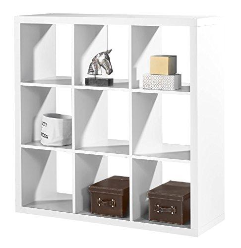 regal raumteiler raumtrenner standregal sonja 2 wei dekor 9 f cher b h l 112x112x38 cm. Black Bedroom Furniture Sets. Home Design Ideas