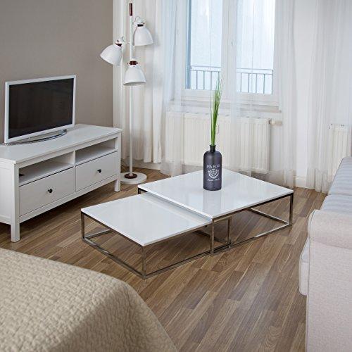 relaxdays couchtisch holz flat 2er set wei lackiert hbt 27 x 80 x 80cm gro er wohnzimmertisch. Black Bedroom Furniture Sets. Home Design Ideas
