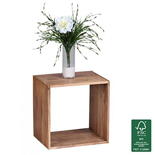 WOHNLING Standregal Massivholz Akazie 43,5 cm Cube Regal Design Holzregal Naturprodukt Beistelltisch Landhaus-Stil dunkel-braun Wohnzimmer-Möbel Unikat Echtholz Couchtisch viereckig Anstelltisch
