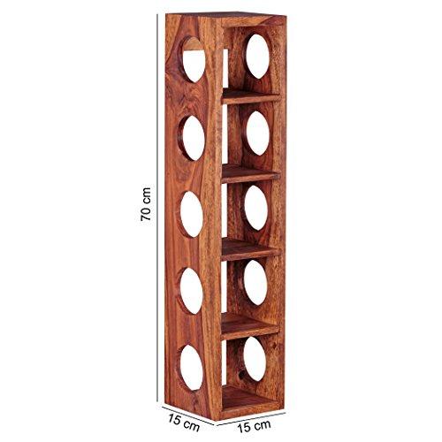 Wohnling Weinregal Massiv-Holz Sheesham Flaschen-Regal Wandmontage für 5 Flaschen Holzregal modern mit Ablage 70 cm Natur-Holz Modern Landhaus-Stil Kellerregal, Wandaufhängung 15 x 15 cm dunkel-braun