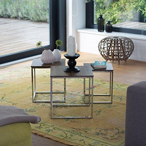 Relaxdays beistelltische 3er set couchtisch holz metall for Designer beistelltische metall