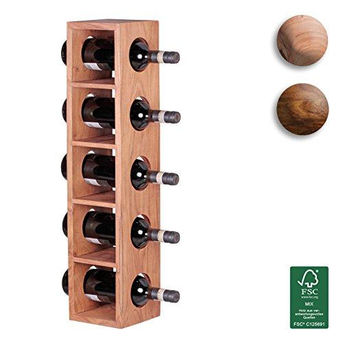 FineBuy Weinregal Massiv-Holz Akazie Flaschen-Regal Wandmontage für 5 Flaschen Holzregal modern mit Ablage 70 cm Natur-Holz Modern Landhaus-Stil dunkel-braun Kellerregal, Wandaufhängung 15 x 15 cm