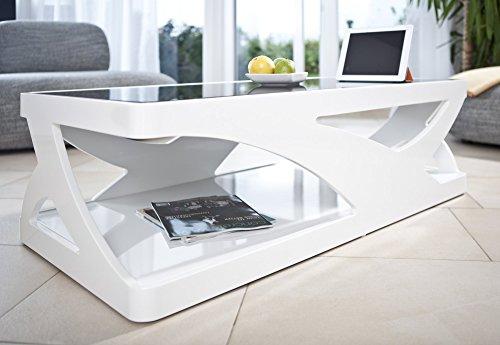 salesfever couchtisch in hochglanz wei mit schwarzer glasplatte ventura 1 skandinavische m bel. Black Bedroom Furniture Sets. Home Design Ideas