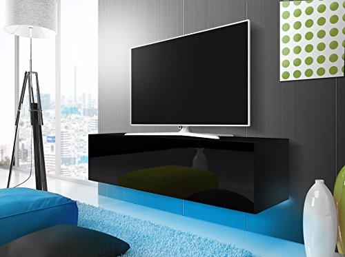 tv schrank lowboard h ngeboard simple mit led blau schwarz matt schwarz hochglanz 160 cm. Black Bedroom Furniture Sets. Home Design Ideas