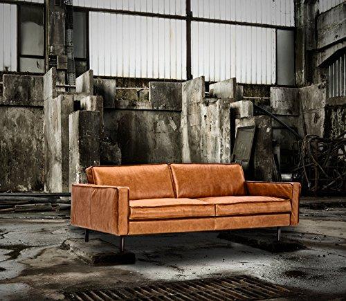 Ledersofa Modern Rodeo Anilin Cognac Vintagepatina 3 Sitzer 190 cm