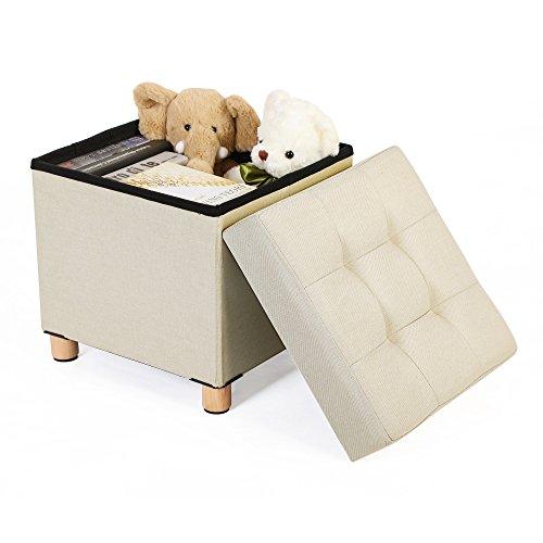 songmics sitzhocker viereckige sitztruhe fu hocker aufbewahrungsbox mit holzf en deckel 38 x 40. Black Bedroom Furniture Sets. Home Design Ideas