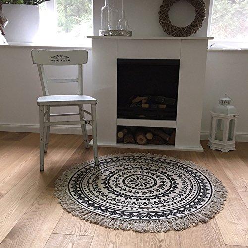 teppich boho i rund 90 cm fransen ethno vintage landhaus shabby cottage skandinavische m bel. Black Bedroom Furniture Sets. Home Design Ideas