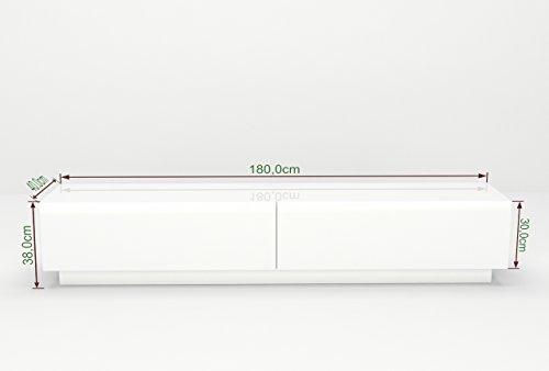 tv lowboard h ngeboard tisch board schrank mit hochglanz 180 cm l nge wei korpus hochglanz. Black Bedroom Furniture Sets. Home Design Ideas