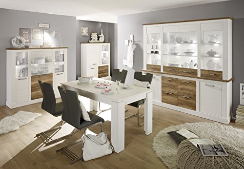 trendteam tr92161 highboard wohnzimmerschrank landhausstil weiss pinie absetzungen nussbaum. Black Bedroom Furniture Sets. Home Design Ideas
