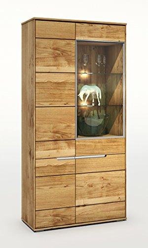vitrine in wildeiche massiv ge lt mit durchgehenden lamellen slimline 2993 exsopo. Black Bedroom Furniture Sets. Home Design Ideas