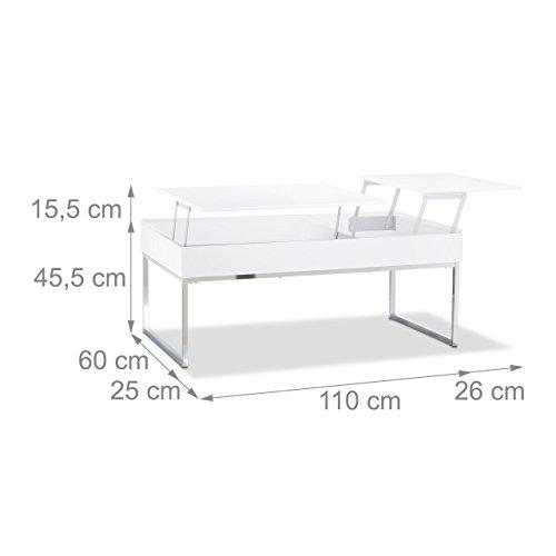 relaxdays couchtisch lift mit 2 f cher tablett klappsitz stauraum wohnzimmertisch hxbxt 45 5. Black Bedroom Furniture Sets. Home Design Ideas