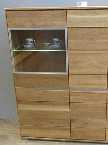 vitrine wildeiche massiv ge lt mit durchgehenden lamellen. Black Bedroom Furniture Sets. Home Design Ideas