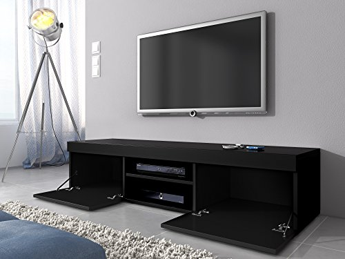 tv m bel lowboard schrank st nder mambo schwarz matt schwarz hochglanz 160 cm skandinavische m bel. Black Bedroom Furniture Sets. Home Design Ideas
